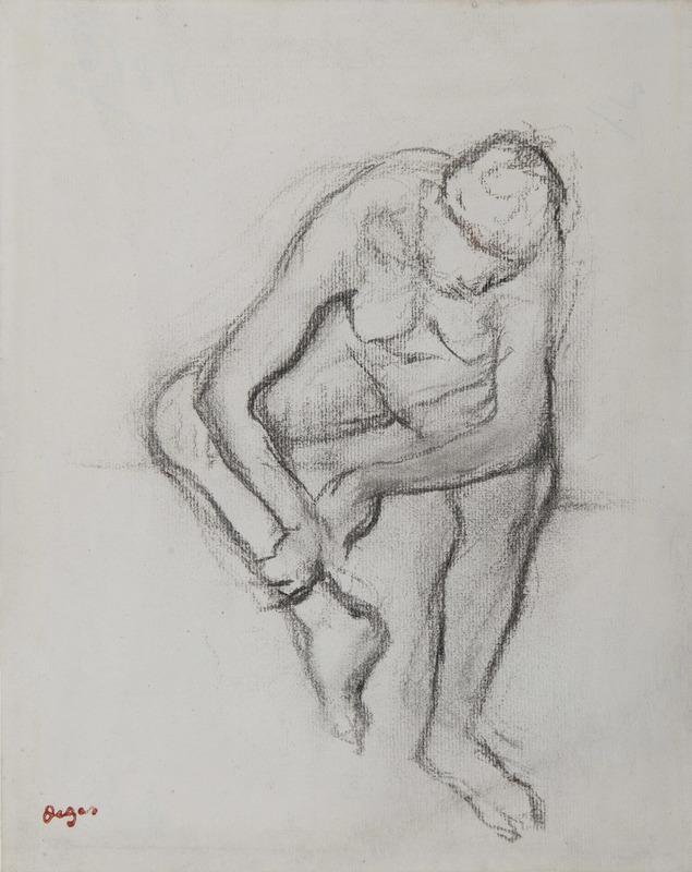 Edgar DEGAS - Zeichnung Aquarell - Femme nue assise