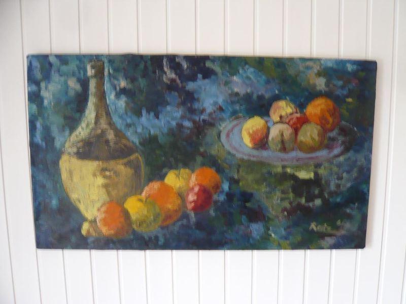 Rolf Dietrich RATZMANN - Pintura - Stilleben mit Weinflasche und Äpfeln