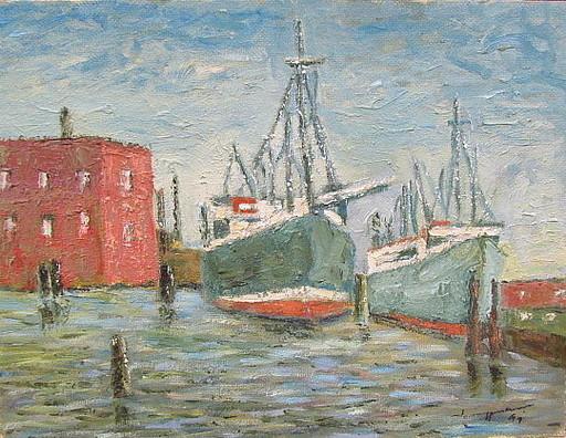 Walter BRÜGGMANN - Painting - Beim Hafentor in Hamburg.