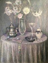 Henri LE SIDANER - Pintura - La Table, Harmonie grise