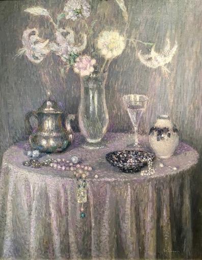 Henri LE SIDANER - Peinture - La Table, Harmonie grise
