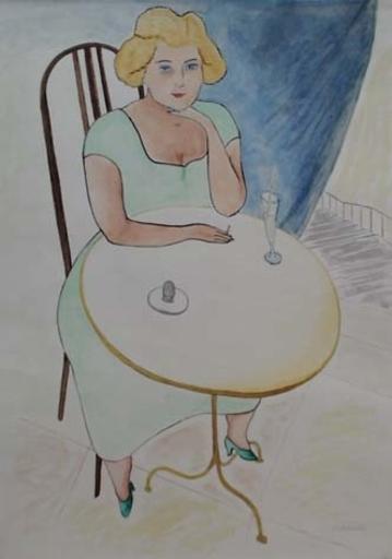 "Ludvik DVORACEK - Disegno Acquarello - ""Young Woman in Pub"" by Ludvik Dvoracek, Watercolour"