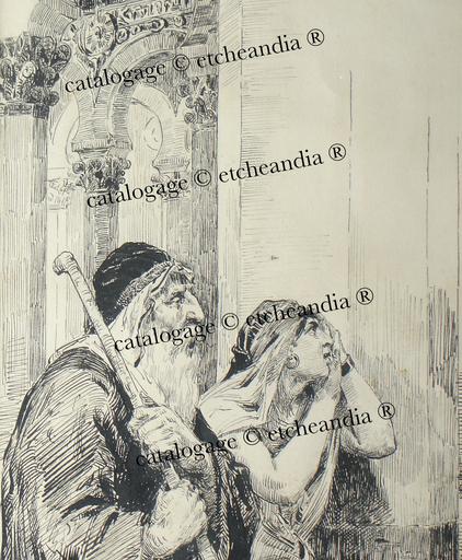 """Ulpiano CHECA Y SANZ - Dibujo Acuarela - """"esposos de angélicas mujeres"""" Espagne"""