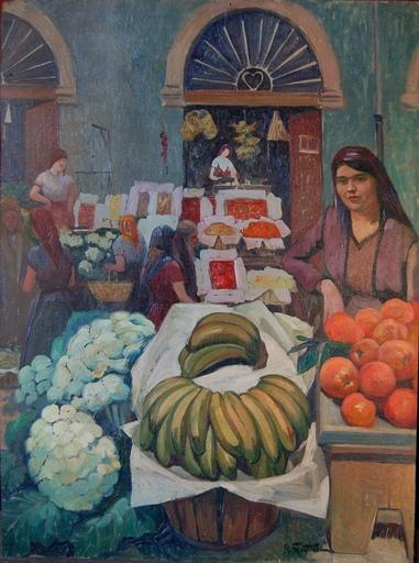 Raymond MARTINEZ - Painting - Marché en Afrique du Nord