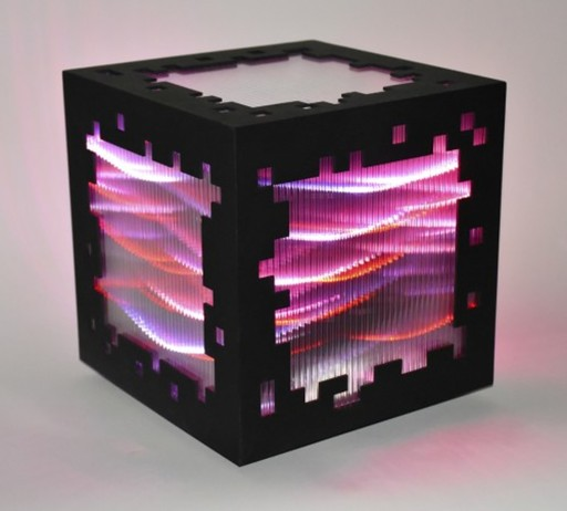 Miguel CHEVALIER - Print-Multiple - Mini voxels light red