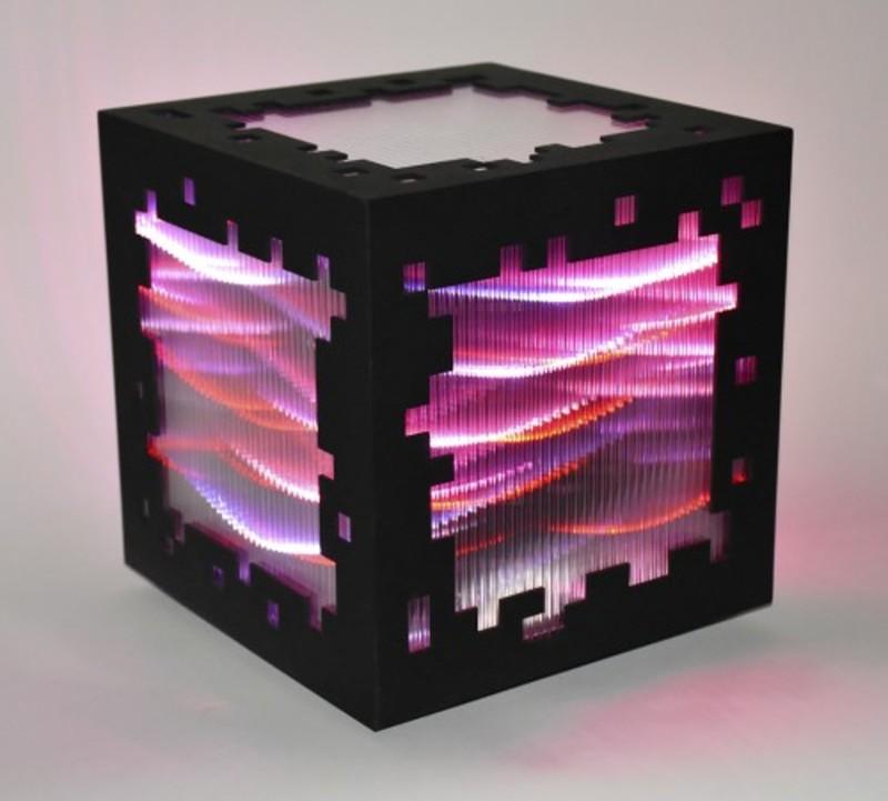 Miguel CHEVALIER - Print-Multiple - Mini voxels light red