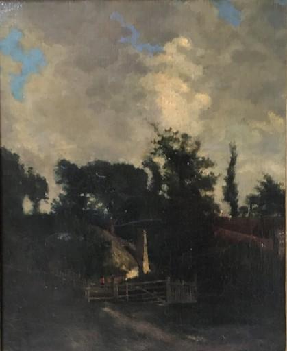 Karl Pierre DAUBIGNY - Peinture - Maisons dans les bois avec personnage