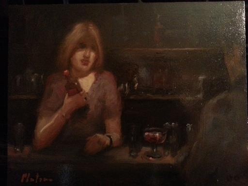 Mario PLATERO - Pintura - Scène de bar