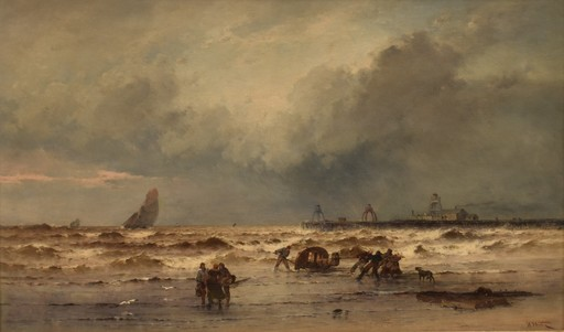 Theodore Alexander WEBER - Peinture - Coastal view with fisherman at rough weather