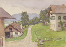 "Rudolf SCHMIDT - Drawing-Watercolor - ""Austrian Village"", Watercolor"
