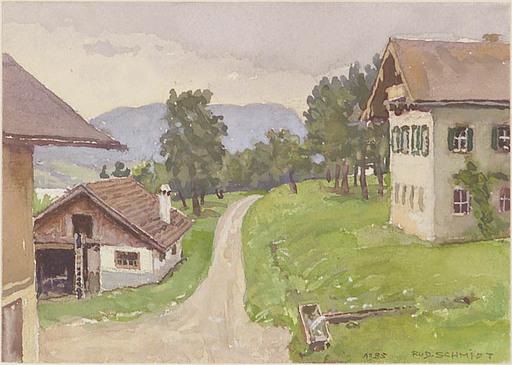 """Rudolf SCHMIDT - Zeichnung Aquarell - """"Austrian Village"""", Watercolor"""