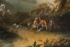 Michele PAGANO - 绘画 - Paesaggio con fiume, edifici e viandanti