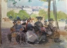 Isaac Lazarus ISRAELS - 水彩作品 - Figures in a Park, Paris