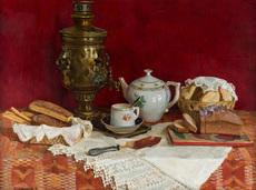 Boris VEDERNIKOV - Painting - Still Life with Samovar