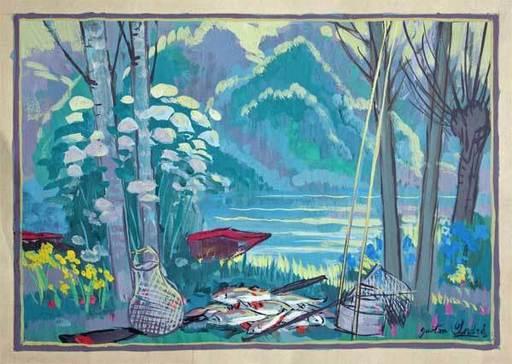 Gaston ANDRE - Painting - La Pêche au bord de l'étang
