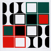 Heinz KREUTZ - Grabado - 16 Quadrate über schwarz, weiß, grün und rot