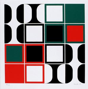 Heinz KREUTZ - Estampe-Multiple - 16 Quadrate über schwarz, weiß, grün und rot