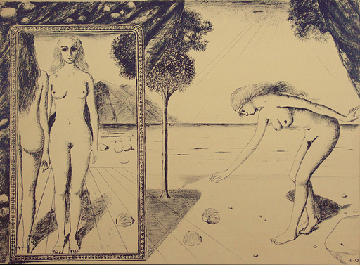 Paul DELVAUX - Grabado - The Beach