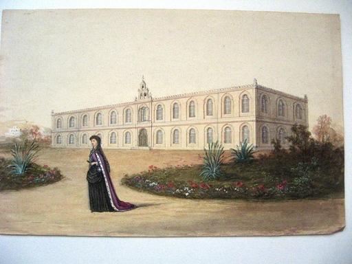 LALOUETTE - Dessin-Aquarelle - TUNIS :Palais du cardinal Lavigerie