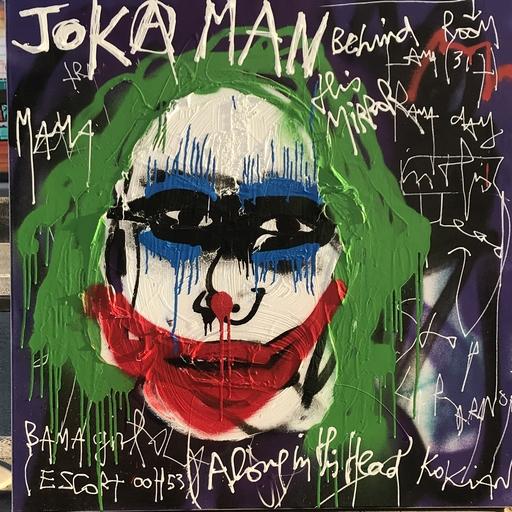 KOKIAN - Peinture - Jokka Man (Joker behind the mirror)