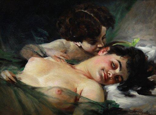 Federico OLARIA - Pintura - Alegoría del amor nu allégorie de l'amour