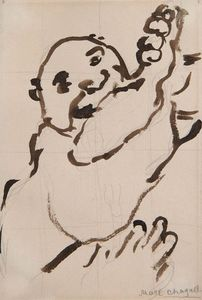Marc CHAGALL - Disegno Acquarello - Autour du Gourmet