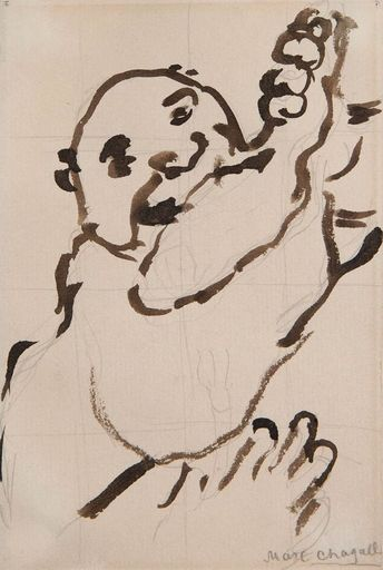 Marc CHAGALL - Drawing-Watercolor - Autour du Gourmet