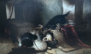 Edward ARMFIELD - Painting - dogs playing around