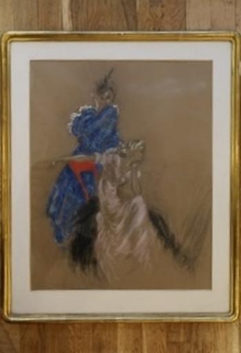 Louis ICART - Drawing-Watercolor - Deux élégantes dans un intérieur, années 1930