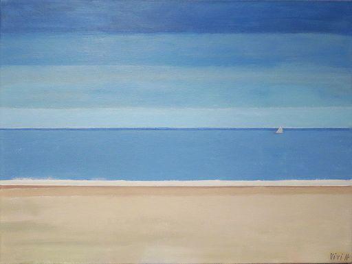 Vivi HERREBOUDT - Pittura - Indian Summer at the North Sea    (Cat N° 6371)