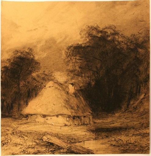 Eugène ISABEY - Drawing-Watercolor - Chaumière dans une clairière