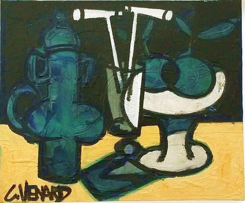 Claude VENARD - Pintura - Composition à la Cafetière Verte