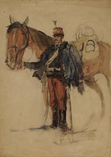 "Theodor VON EHRMANNS - Dessin-Aquarelle - ""Austrian Hussar"" by Theodor von Ehrmanns, ca 1890"