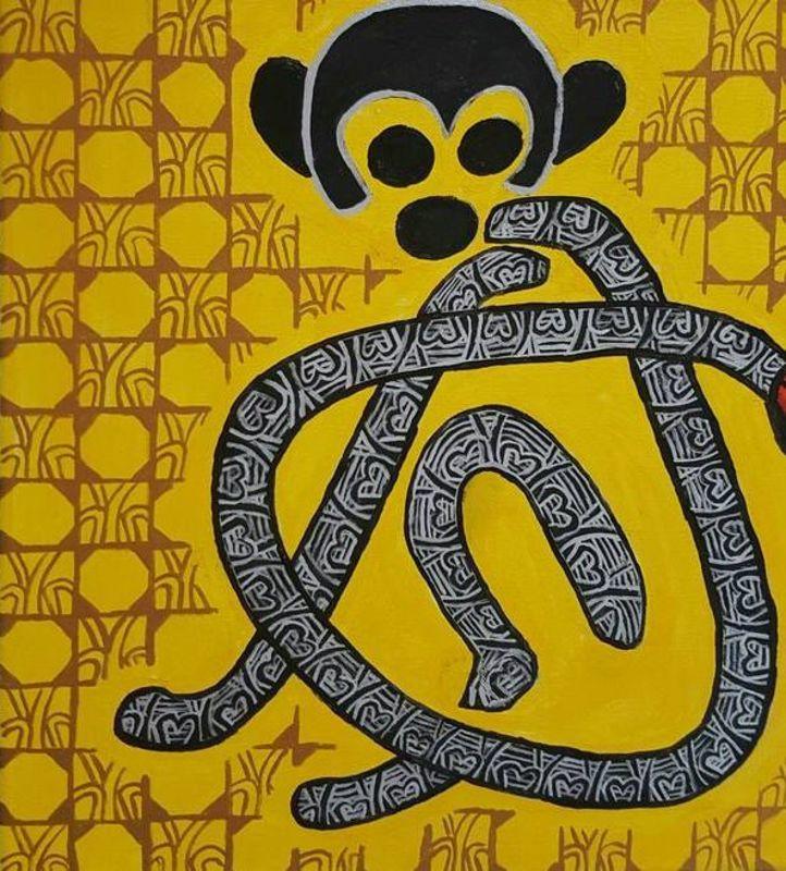 Annemarie HOFFMANN - Painting - BaumKapuzineräfffchen    (Cat N° 6058)