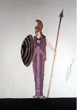 "ERTÉ - Dessin-Aquarelle - Costume for ""Athena"""