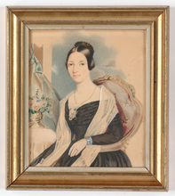 "Karl VON SAAR - Miniature - ""Portrait of a lady"" large miniature on card, late 1840s"