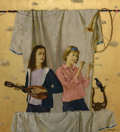 Tatjana PALCUKA - Painting - Fluitist and Mandolin player    (Cat N° 6089)