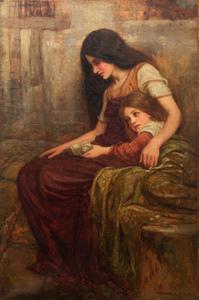 Arthur A. DIXON - Peinture - Ritratto mamma e figlia dell'artista con conchiglia