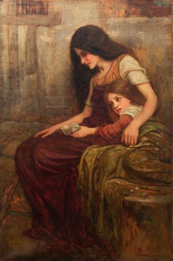 Arthur A. DIXON - Pittura - Ritratto mamma e figlia dell'artista con conchiglia