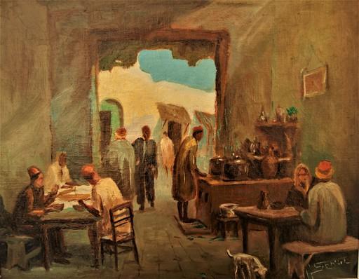 M. SERGE - Pintura - Café Oriental.  Scène de genre