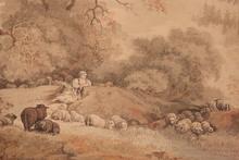 Jean-Baptiste I HUET (1745-1811) - bergere et ses moutons au bord d un ruisseau