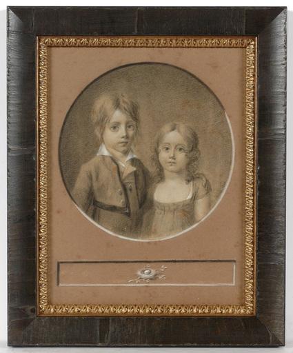 "Jean-François SOIRON - Miniature - Jean-Francois Soiron (1756-1813) ""Little brother and sister"""