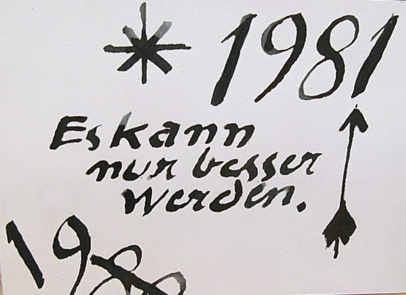 Arnold FIEDLER - Dibujo Acuarela - Neujahrsgruß 1981