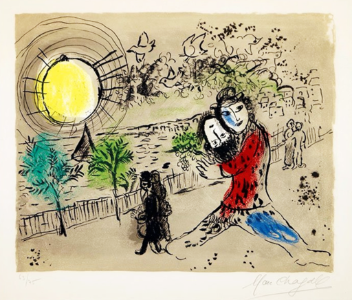 Marc CHAGALL - Estampe-Multiple - The Yellow Sun