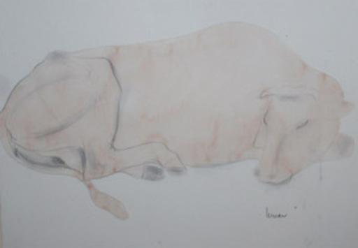 Marcel LEMAR - Zeichnung Aquarell - vache