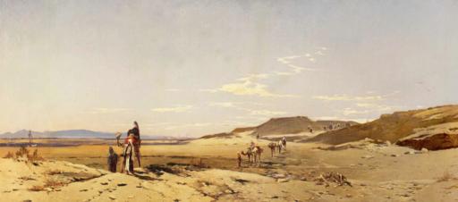 Hermann CORRODI - Gemälde - Carovana nel deserto