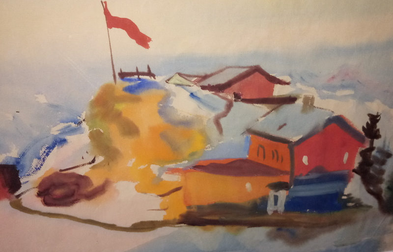 Ferdinand KITT - Dibujo Acuarela - Bergstation