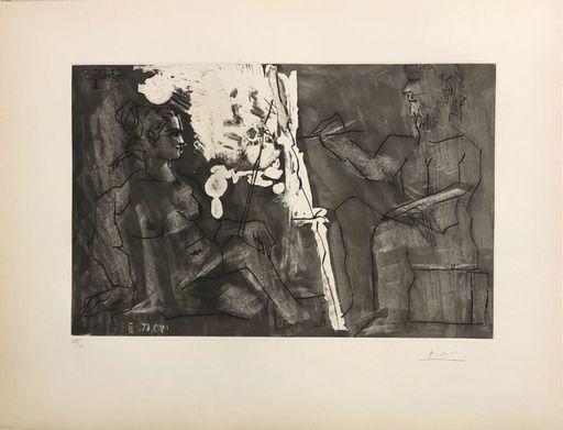 Pablo PICASSO - Stampa-Multiplo - Peintre à son chevalet, avec un modèle assis