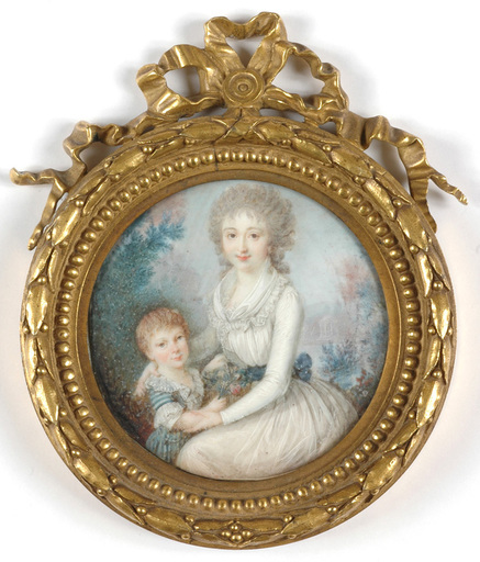 "Jean-Baptiste SOYER - Miniature - ""Lady with her little son"" miniature on ivory, ca. 1790"