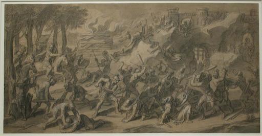 François VERDIER - Drawing-Watercolor - Battle Scene